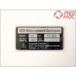 MZ/TS 250 TÍPUSTÁBLA /TS250/