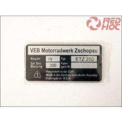 ETZ 250 TÍPUSTÁBLA /ETZ250/