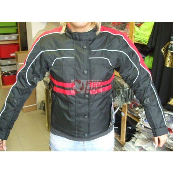 JM Női motoros kabát protektorral kivehető béléssel piros-fekete 59aed4afe4
