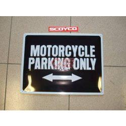 Motoros fém parkolótábla ( Motorcycle Parking Only felirattal ) Xmas